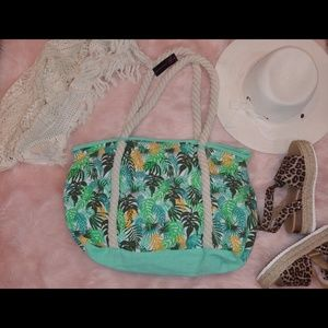 Tropical leaf  print rope handle tote bag